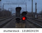 red signal of the railway... | Shutterstock . vector #1318024154