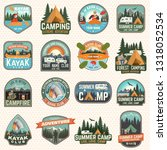 set of camp and kayak club... | Shutterstock .eps vector #1318052534