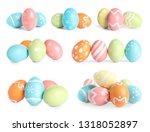 set of colorful easter eggs on... | Shutterstock . vector #1318052897