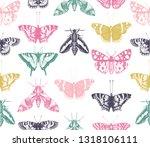 vintage butterflies seamless... | Shutterstock .eps vector #1318106111