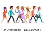 crowd of fashionable walking... | Shutterstock .eps vector #1318109357