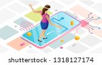 augmented reality in abstract... | Shutterstock .eps vector #1318127174