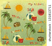 summer background. retro card... | Shutterstock . vector #131813711