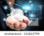 hand and modern social buttons | Shutterstock . vector #131815799