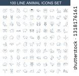 100 animal icons. trendy animal ... | Shutterstock .eps vector #1318176161
