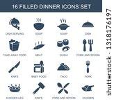 dinner icons. trendy 16 dinner... | Shutterstock .eps vector #1318176197