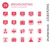 broadcasting icon set.... | Shutterstock .eps vector #1318192541