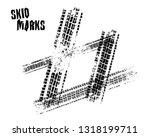 automobile tire tracks vector... | Shutterstock .eps vector #1318199711