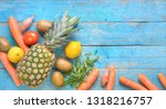 fruit and vegetables  healthy...   Shutterstock . vector #1318216757