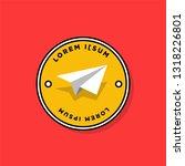 paper plane badge sticker... | Shutterstock .eps vector #1318226801