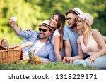 happy young friends having... | Shutterstock . vector #1318229171