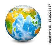 earth globe focused on indian... | Shutterstock . vector #1318229957