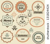 vector retro labels and floral  ... | Shutterstock .eps vector #131824424