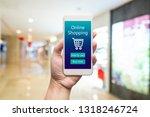 smart phone online shopping in... | Shutterstock . vector #1318246724