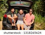 three road trip friends smiling ... | Shutterstock . vector #1318265624