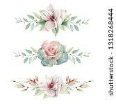 handpainted watercolor flowers... | Shutterstock . vector #1318268444