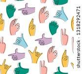 popular hand gestures. trendy... | Shutterstock .eps vector #1318292471