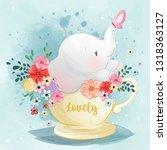 Cute Elephant In The Tea Cup