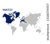 vector world map with nato... | Shutterstock .eps vector #1318374557