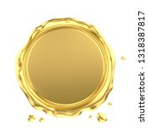 blank gold wax seal isolated on ... | Shutterstock . vector #1318387817