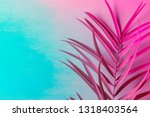 big fresh palm leaf on duotone... | Shutterstock . vector #1318403564