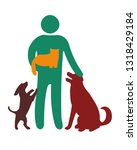 happy men and pets. cat and... | Shutterstock .eps vector #1318429184