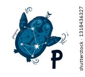 vector animal alphabet letter p ... | Shutterstock .eps vector #1318436327
