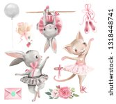 Stock photo set of cute watercolor ballerina animals ballet theme design elements bunny and kitten ballerina 1318448741
