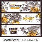 vector hand drawn honey... | Shutterstock .eps vector #1318463447