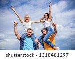 friends having fun summer open... | Shutterstock . vector #1318481297