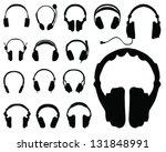 black silhouettes of headphones ... | Shutterstock .eps vector #131848991