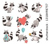 cute raccoon set  funny animal... | Shutterstock .eps vector #1318498757