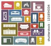 furniture icon set | Shutterstock .eps vector #131854334