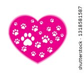 Pink Heart With Dog Tracks