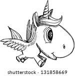 sketch doodle unicorn pegasus... | Shutterstock .eps vector #131858669