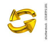 golden rotation arrows icon 3d... | Shutterstock . vector #1318591181