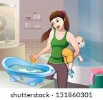bathing baby | Shutterstock .eps vector #131860301
