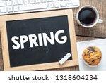 spring text in a notebook.   Shutterstock . vector #1318604234