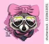 vector raccoon with pink... | Shutterstock .eps vector #1318613051