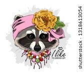 vector raccoon with headband ... | Shutterstock .eps vector #1318613054