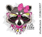 vector raccoon with pink bow ... | Shutterstock .eps vector #1318613057