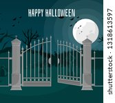 gothic castle behind gates in... | Shutterstock .eps vector #1318613597