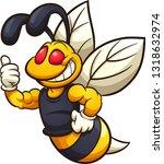 happy hornet  wasp  or bee... | Shutterstock .eps vector #1318632974