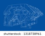 engine block sketch. vector... | Shutterstock .eps vector #1318738961