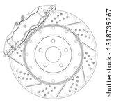brake disc outline. vector... | Shutterstock .eps vector #1318739267