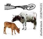 cow and calf vector...   Shutterstock .eps vector #1318744121