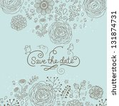 save the date. stylish floral...   Shutterstock .eps vector #131874731