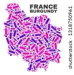 mosaic burgundy province map... | Shutterstock .eps vector #1318750961