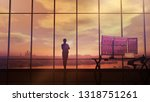 silhouette of business woman... | Shutterstock . vector #1318751261