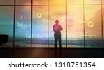 silhouette of a trader in the... | Shutterstock . vector #1318751354